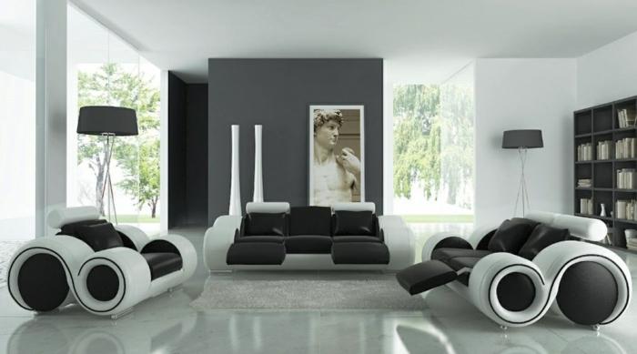 Muster in Schwarz-Weiß wandgestaltung mit Farbe schwarz weiß wohnzimmer einrichten weiss schwarz duschvorhang1