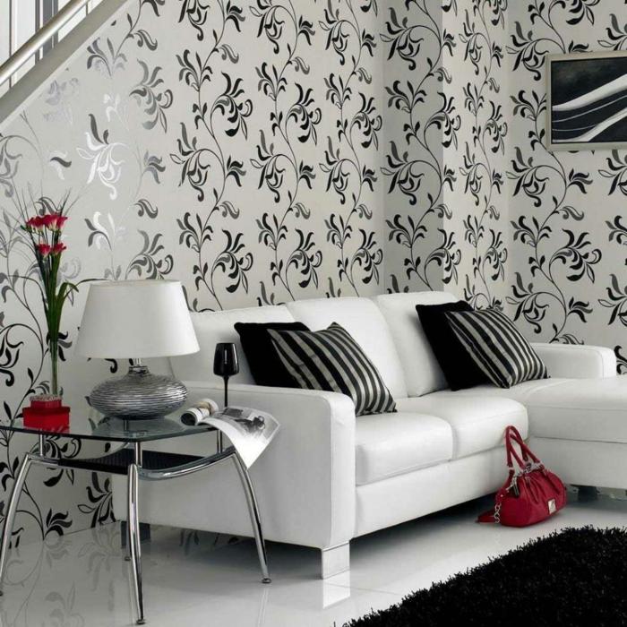 Muster Schwarz-Weiß wandgestaltung mit Farbe Einrichtungsbeispiele schwarz weiß wohnzimmer einrichten weiss schwarz floral