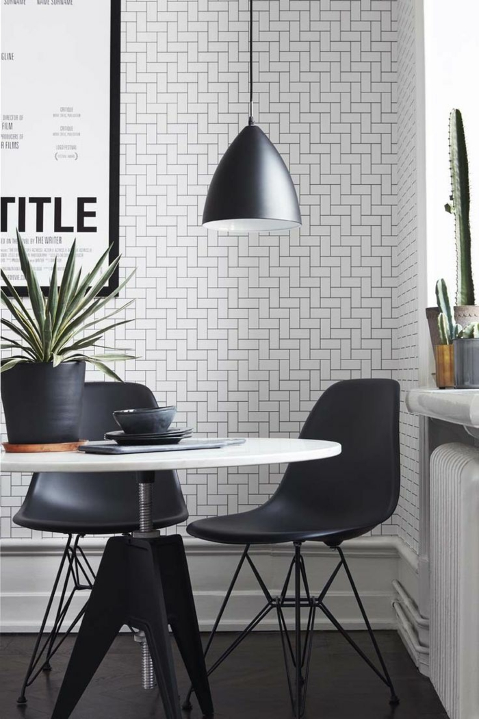 Muster Schwarz-Weiß wandgestaltung mit Farbe schwarz weiß wohnzimmer einrichten weiss schwarz grafisch