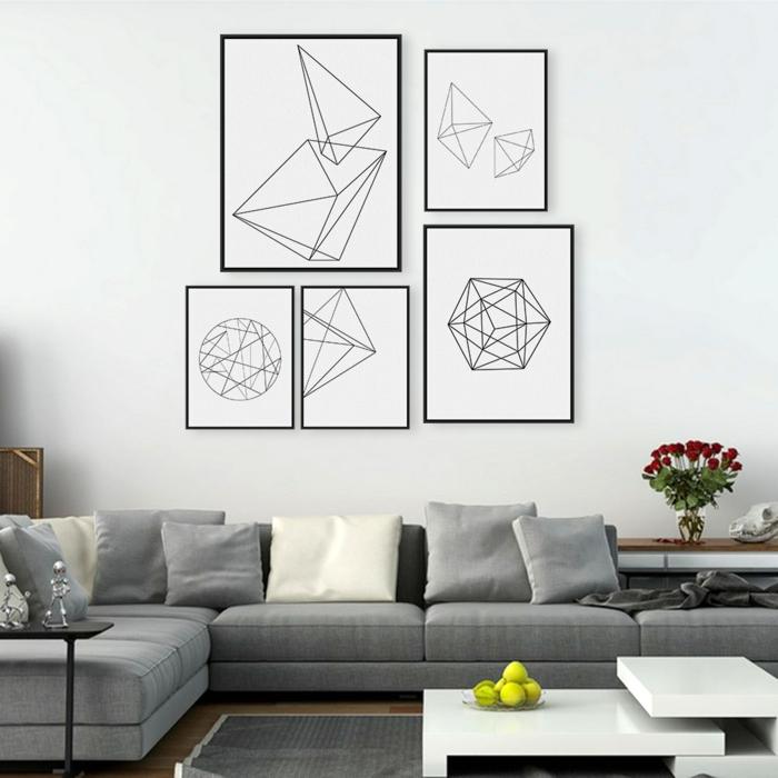 Muster in Schwarz-Weiß wandgestaltung mit Farbe wohnzimmer einrichten weiss schwarz konturen