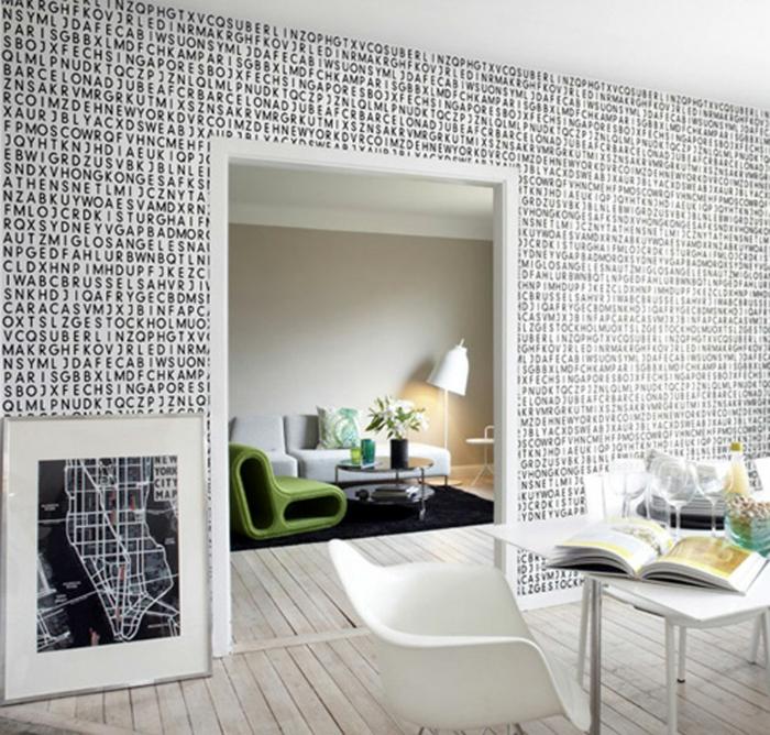 Muster in Schwarz-Weiß wandgestaltung mit Farbe wohnzimmer einrichten weiss schwarz muster typo