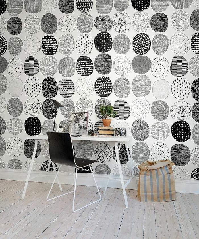 Muster Schwarz-Weiß wandgestaltung mit Farbe schwarz weiß wohnzimmer einrichten weiss schwarz muster