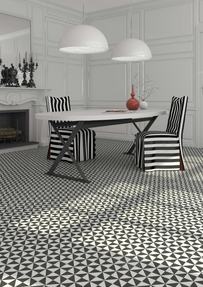 Muster Schwarz-Weiß wandgestaltung mit Farbe wohnzimmer einrichten weiss schwarz stuhl