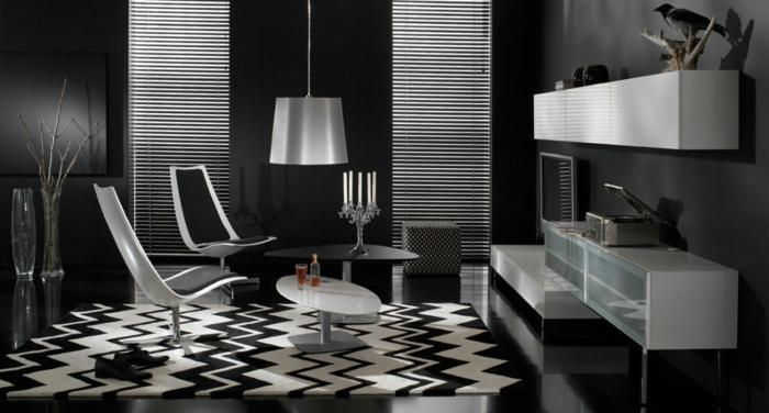 Muster in Schwarz-Weiß wandgestaltung mit Farbe wohnzimmer einrichten weiss schwarz tisch