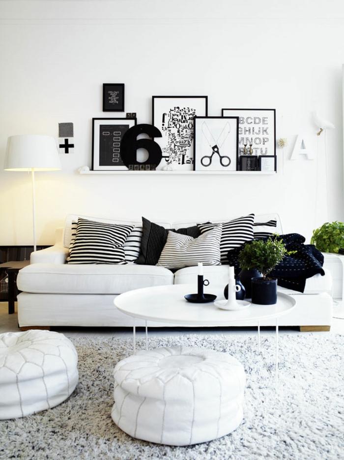 Muster in Schwarz-Weiß wandgestaltung mit Farbe einrichtungsbeispiele schwarz weiß wohnzimmer einrichten weiss schwarz typo