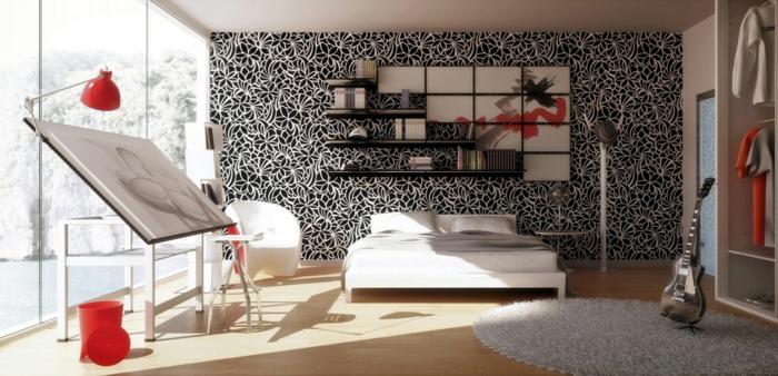Muster in Schwarz-Weiß wandgestaltung mit Farbe einrichtungsbeispiele schwarz weiß wohnzimmer einrichten weiss schwarz