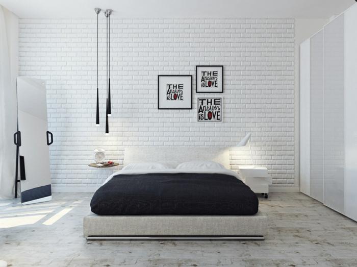 weißes schlafzimmer akzentwand pendelleuchten cooler boden