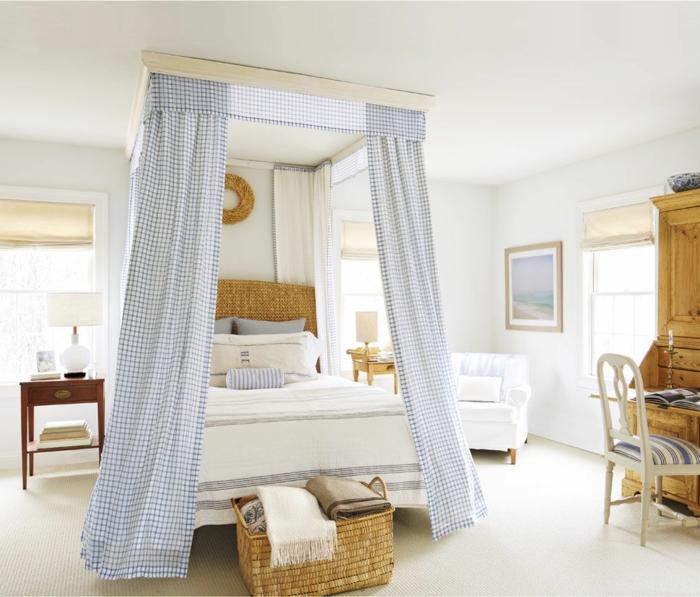 weißes schlafzimmer aufbewahrungskorb betthimmel