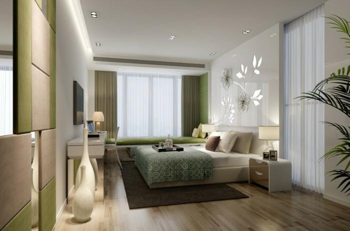 weißes schlafzimmer grüne akzente bodenvasen dekoideen