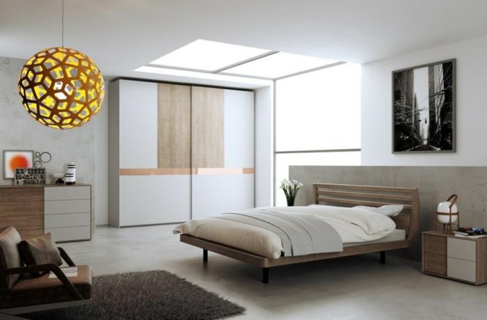 weißes schlafzimmer helle bodenfliesen cooler leuchter moderner kleiderschrank
