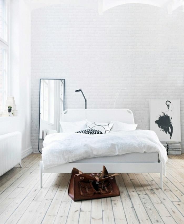 weißes schlafzimmer holzboden ziegelwand akzentwand