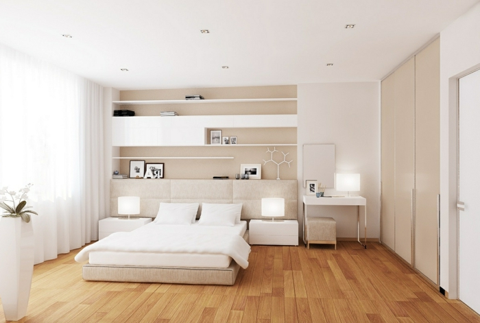 Attraktiv Weißes Schlafzimmer Offene Wandregale Beige Akzente Schminktisch