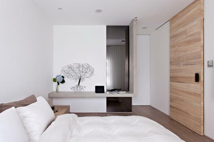 weißes schlafzimmer minimalistisch holzakzente dekoideen