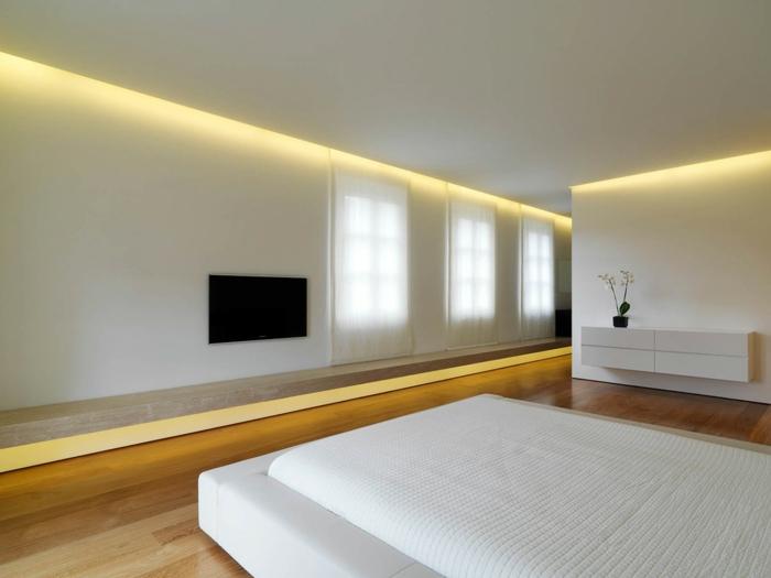 weißes schlafzimmer minimalistisch led beleuchtung dekoideen