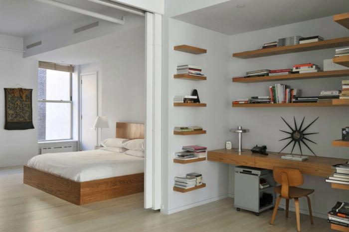 weißes schlafzimmer schiebetüren arbeitsbereich