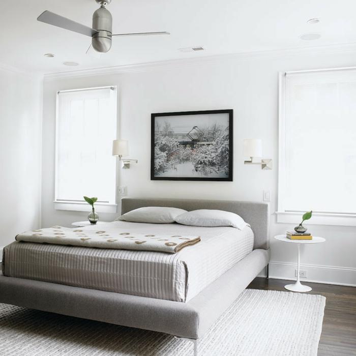 weißes schlafzimmer stilvoll runde nachttische wandleuchten