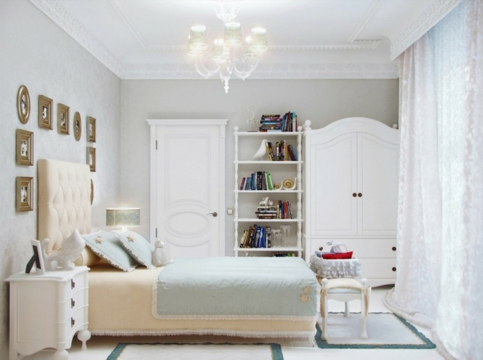 weißes schlafzimmer weiße möbel helle wandtapete teppiche
