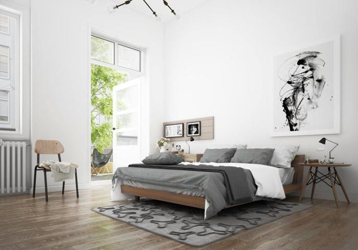weißes schlafzimmer weiße wände hellgrauer teppich holzboden