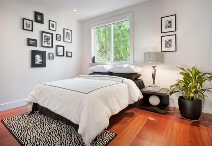 weißes schlafzimmer weiße wände schwarz weißer teppich pflanze bilder
