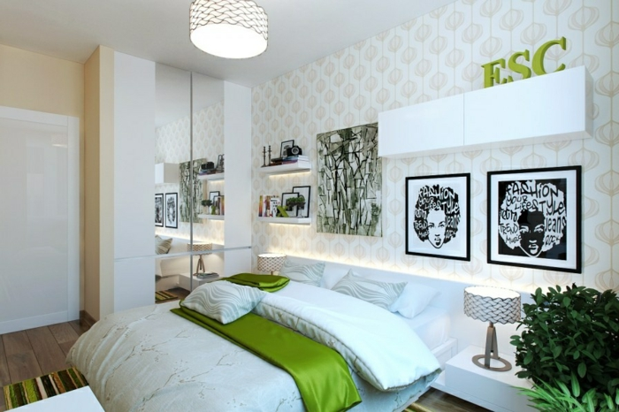 weißes schlafzimmer weiße wandschränke pflanze farbiger teppich