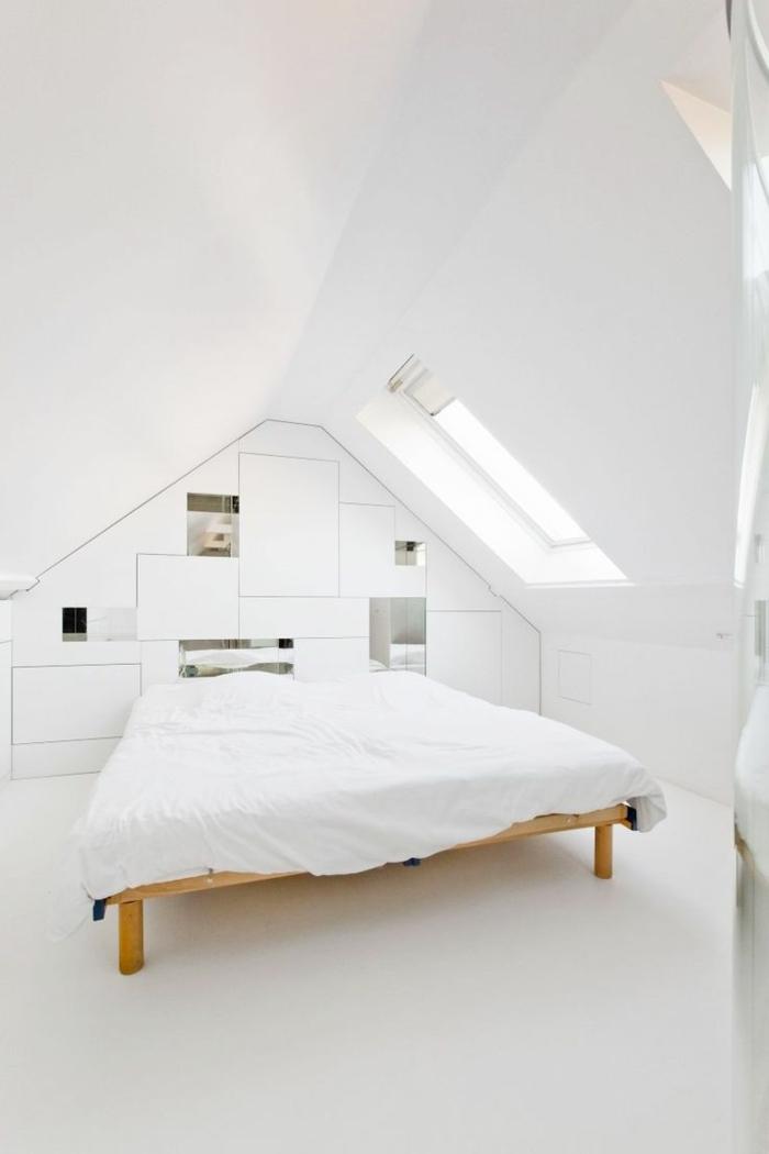 weißes schlafzimmer weißer boden minimalistisch