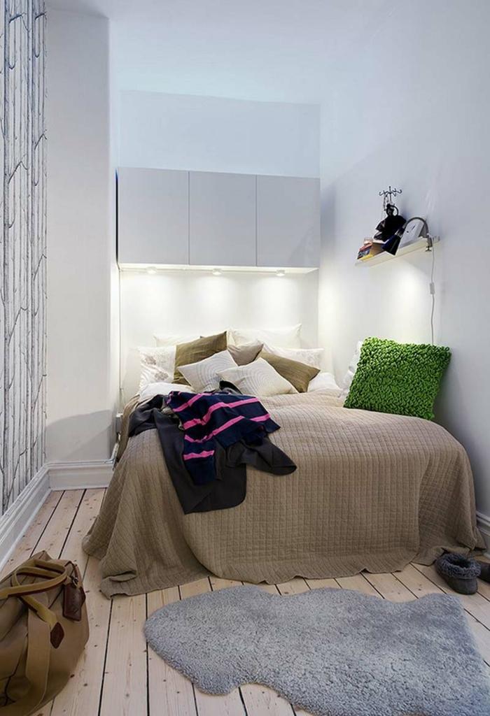 wohnideen achlafzimmer kleines schlafzimmer einrichten teppich wandtapete holzboden