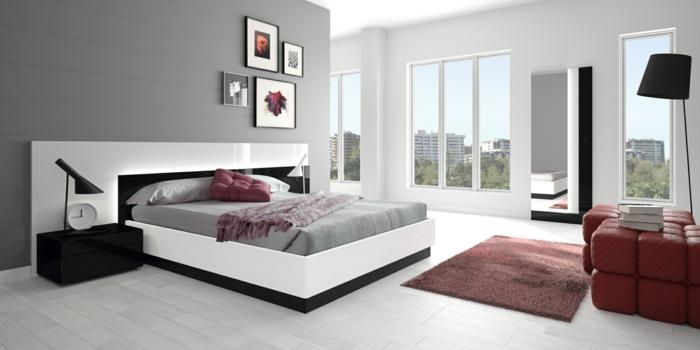 wohnideen schlafzimmer graue wand rote akzente weiße bodenfliesen