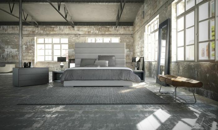 wohnideen schlafzimmer grauer teppich industrieller look