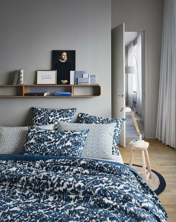 wohnideen schlafzimmer schöne bettwäsche regale stauraum ideen