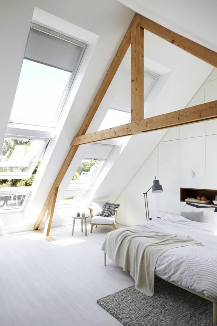 wohnideen schlafzimmer skandinavisher stil holzbalken stauraum