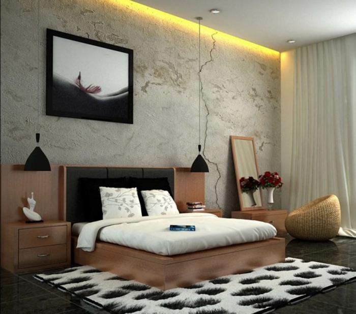 wohnideen schlafzimmer teppich hängeleuuchten cooler sessel