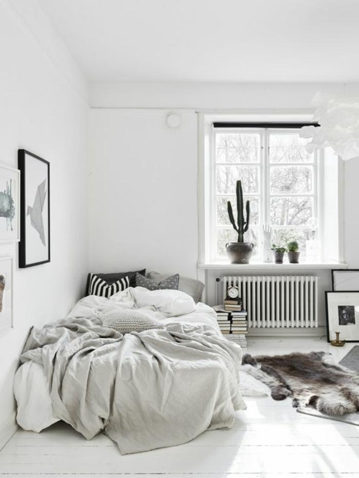 wohnideen schlafzimmer weiße wände fellteppich kakteen