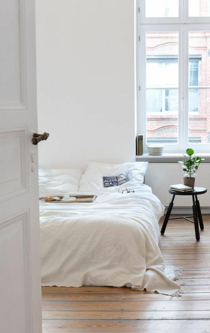 wohnideen schlafzimmer weiße wände holzboden skandinavisch