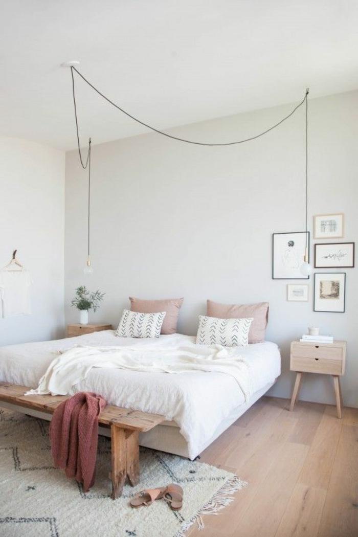 wohnideen schlafzimmer weiße wände industrielle leuchte teppich rustikale schlafzimmerbank
