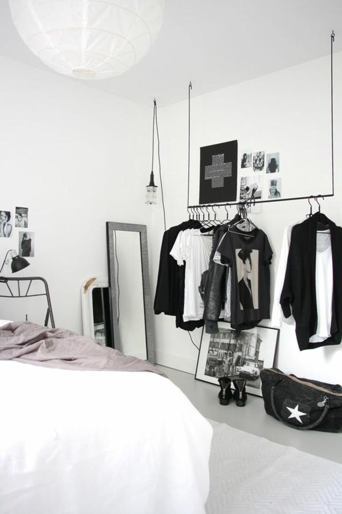 wohnideen schlafzimmer weiße wände leuchter spiegel industrielle leuchte