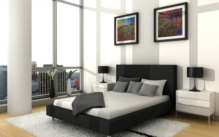 wohnideen schlafzimmer weiße wände panoramafenster schwarzes bett
