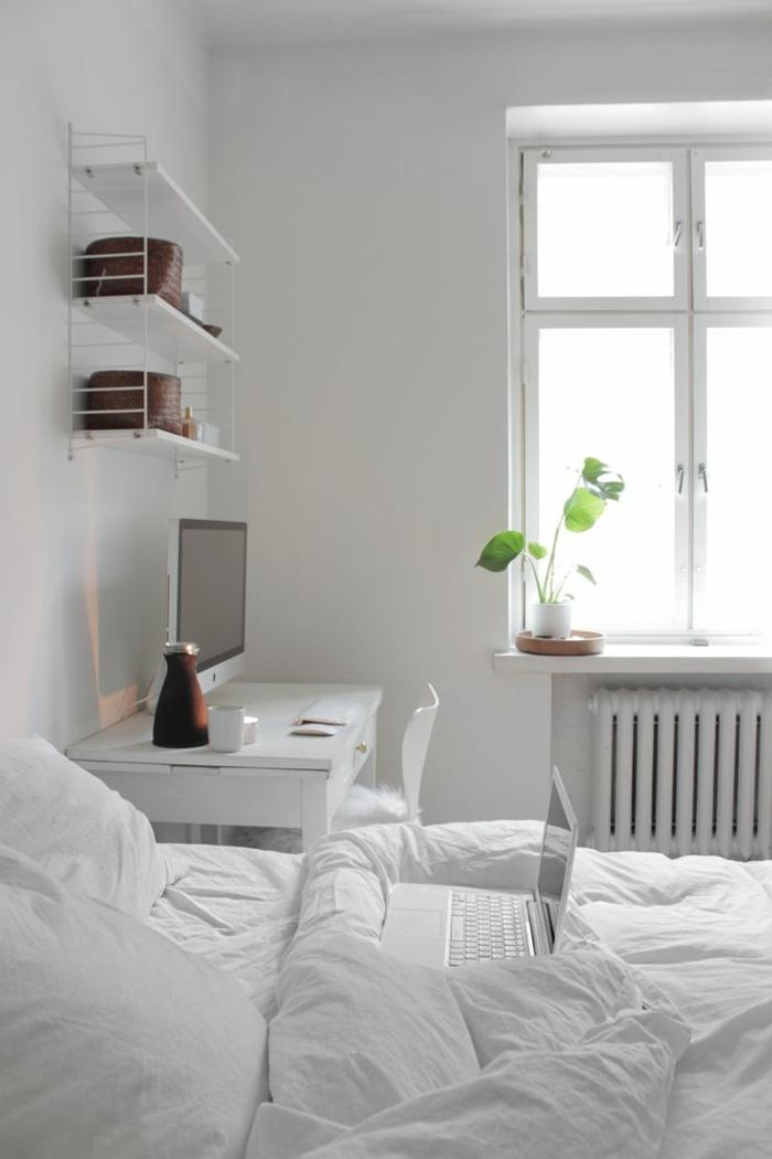 wohnideen schlafzimmer weiße wandgestaltuntg pflanze wandregale