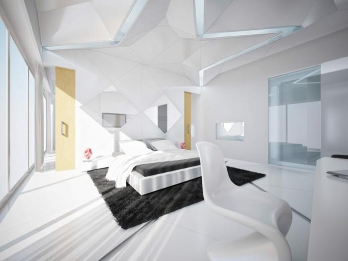 wohnideen schlafzimmer weißes ambiente schwarzer teppich