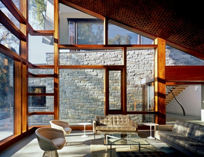 wohnideen wohnbereich gestalten glastisch bodenfliesen glas