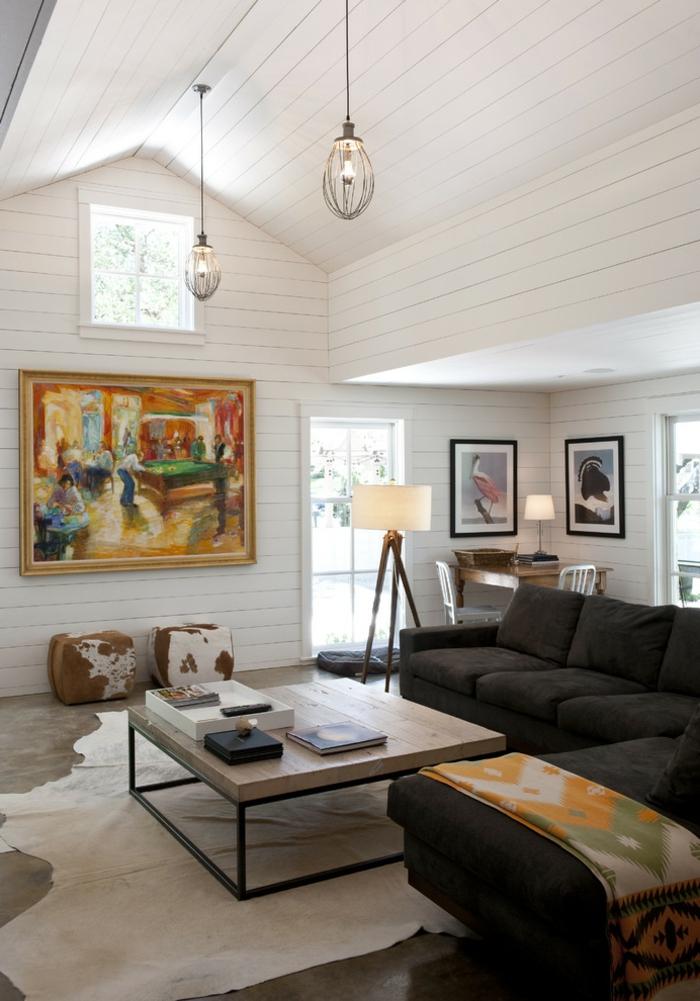 wohnideen wohnzimmer dunkles sofa dekoideen warme farbnuancen