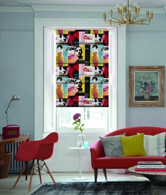 wohnideen wohnzimmer einrichtungsideen rote möbel raffrollo farbig
