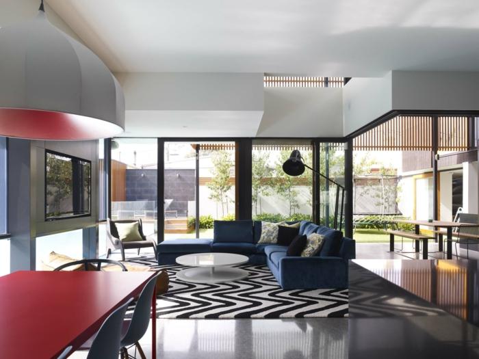 wohnideen wohnzimmer eleganter teppich offener wohnplan essbereich