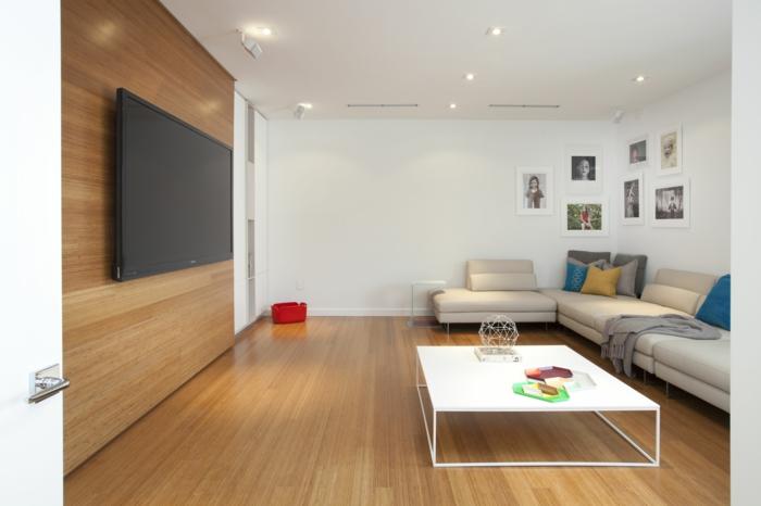 wohnideen wohnzimmer minimalistischer stil fernseher weiße wände