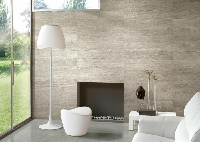 wohnideen wohnzimmer moderne feuerstelle weiße einrichtung accessoires