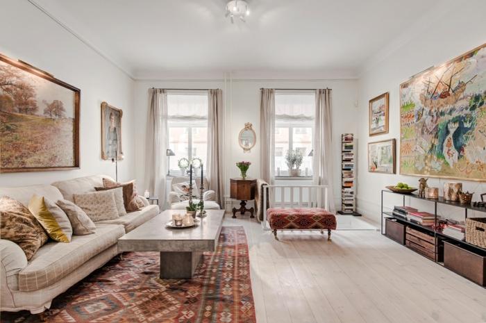 wohnideen wohnzimmer muster kombinieren gemütlich bilder helle gardinen