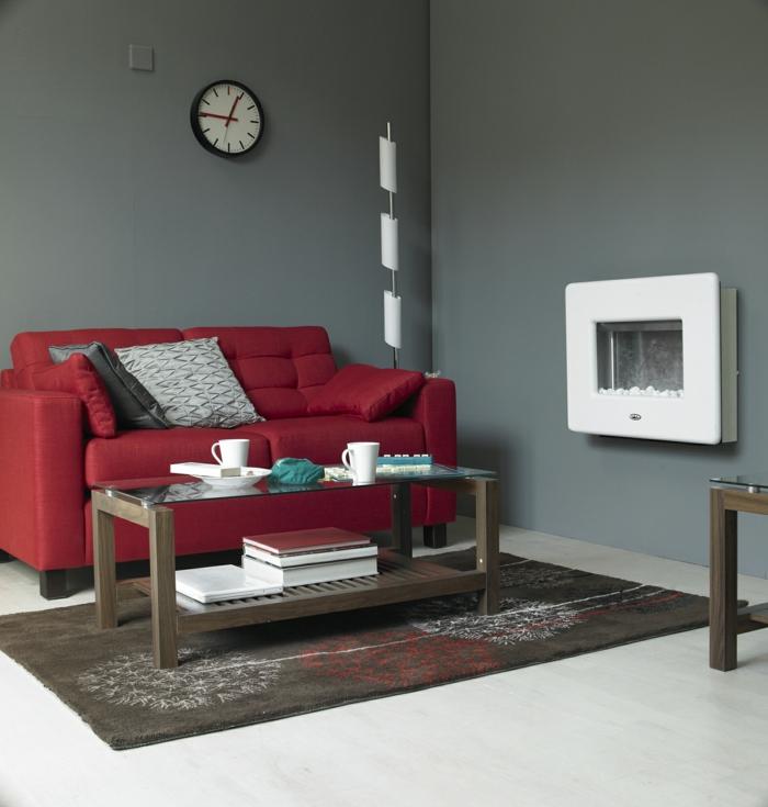 wohnideen wohnzimmer rotes sofa graue wände kleiner raum
