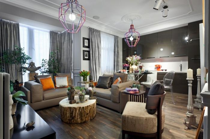 wohnideen wohnzimmer rustikaler couchtisch schicke sofas offener wohnplan