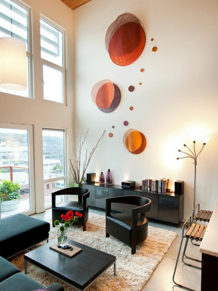 wohnideen wohnzimmer schwarze möbel dekoideen heller teppich
