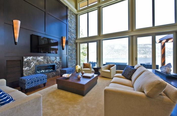wohnideen wohnzimmerschwarze wände wandleuchten panoramafenster