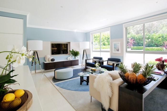 wohnideen wohnzimmer teppichmuster pflanzen wandgestaltung ideen
